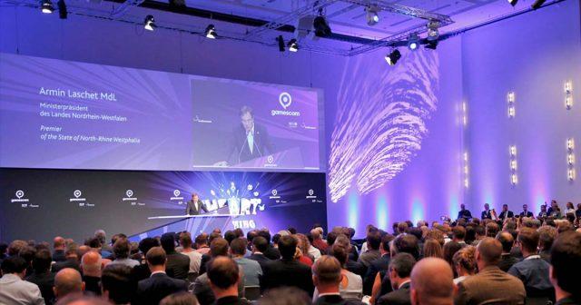 Im Konrad-Adenauer-Saal findet am 21.8. die offizielle Gamescom-Eröffnung statt - wie schon 2017 wird Armin Laschet die Messe eröffnen (Foto: Franziska Krug / Getty Images for Game)