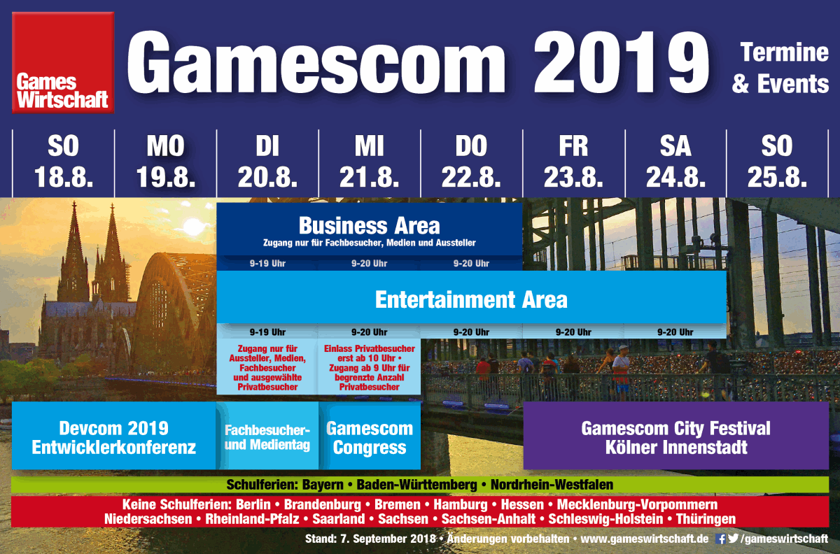 Die Gamescom 2019 startet am 20.8.2019 mit dem Fachbesucher- und Medientag (Stand: 7.9.18)