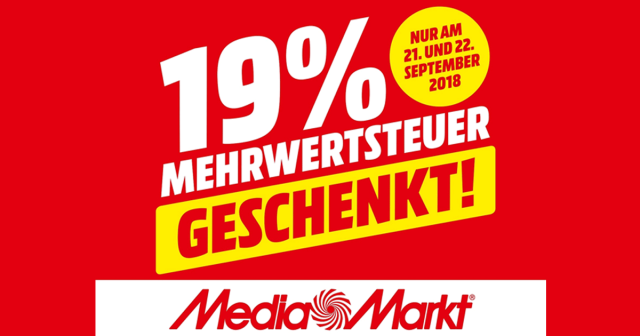 Nur am 21. und 22. September 2018 gibt es bei Saturn und Media Markt die Mehrwertsteuer von 19 Prozent geschenkt - die Aktion gilt für viele vorrätige Produkte (Abbildung: MediaMarkt Saturn Retail Group)