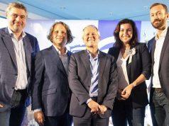 Benedikt Grindel (Managing Director Ubisoft Blue Byte), Staatssekretär Christian Rickerts, Ubisoft-CEO Yves Guillemot, Digital-Staatsministerin Dorothee Bär und Studioleiter Istvan Tajnay feiern die offizielle Eröffnung von Ubisoft Berlin (Foto: Ubisoft)