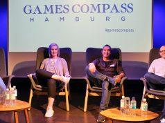 Das Panel des Games Compass Hamburg im Oktober 2018: Funda Yakin (InnoGames), Maxi Gräff (Microsoft), Daniel Budiman (Rocket Beans) und Roland Eisenbrand (OMR) - Foto: InnoGames GmbH
