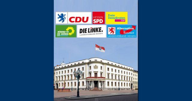 Landtagwahl Hessen 2018 am 28. Oktober: Sechs Parteien ziehen voraussichtlich in den Wiesbadener Landtag ein (Abbildungen: Parteien / Foto: Hessischer Landtag, Kanzlei / Herrmann Heibel)
