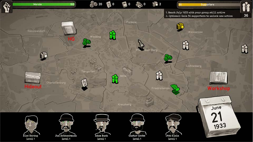 """Strategiespiel """"Through the Darkest of Times"""": Auf einer Übersichtskarte werden die Aktionen der Widerstandsgruppe geplant (Abbildung: HandyGames)"""