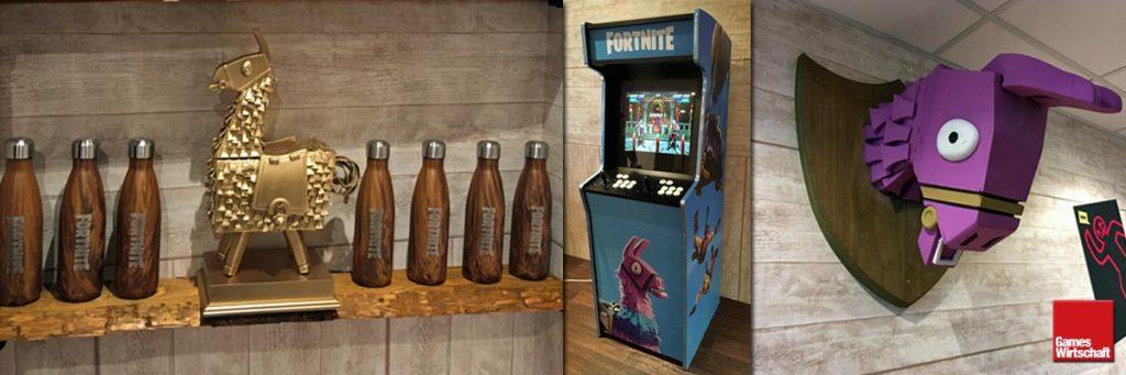 Offiziell, aber unverkäuflich: Im Backstage-Bereich des Fortnite Gamescom-Stands war unter anderem ein Fortnite-Spielautomat aufgebaut (Fotos: GamesWirtschaft)