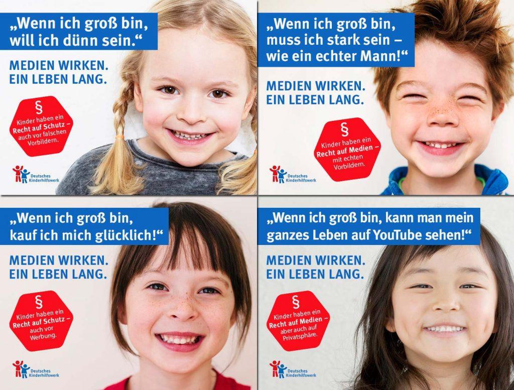 Vier der fünf Motive der aktuellen Facebook-Kampagne des Deutschen Kinderhilfswerks (Abbildungen: DKHW / Emely / Elisabethsalleebauer (2x) / Indeed / Getty Images)