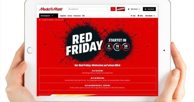 Die Angebote des MediaMarkt Red Friday 2018 sind bereits am Abend des Donnerstag (22.11.) einsehbar - Abbildung: MediaSaturn Unternehmenskommunikation