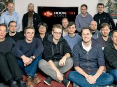 Die beiden Gründer Michael Schade (hintere Reihe, zweiter von links) und Christian Lohr (hintere Reihe, zweiter von rechts) erweitern das Rockfish-Games-Team.