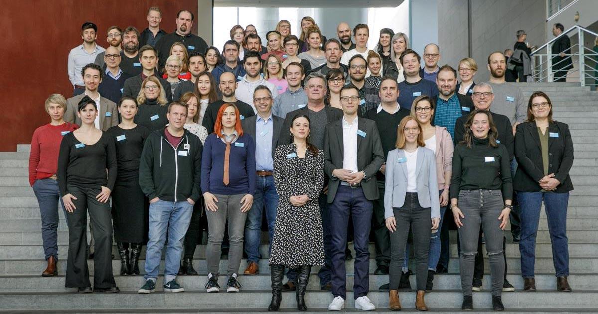 Ausrichter, USK-Sichter und die Mitglieder der 40köpfigen Fachjury trafen sich am 8. Februar im Kanzleramt (Foto: Carsten Koall für Deutscher Computerspielpreis)