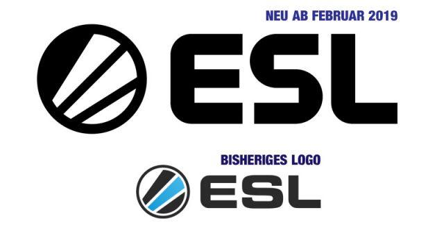 Unten das bisherige ESL-Logo - oben der neue Markenauftritt mit modernisiertem Font (Abbildungen: ESL)