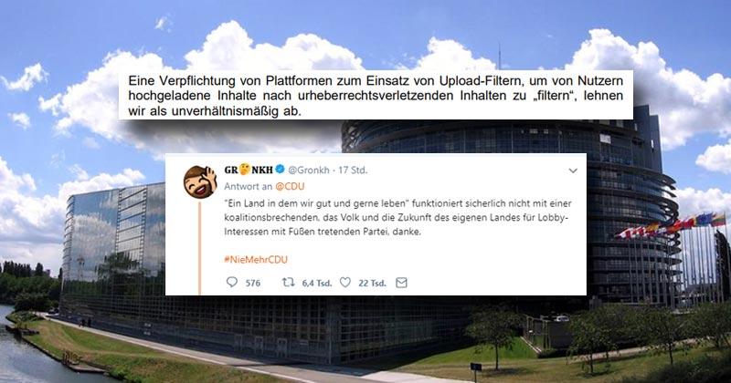 Gronkh grollt: Entgegen der Zusagen im Koalitionsvertrag stimmte die CDU geschlossen für die Einführung sogenannter Upload-Filter auf EU-Ebene (Foto: GamesWirtschaft)