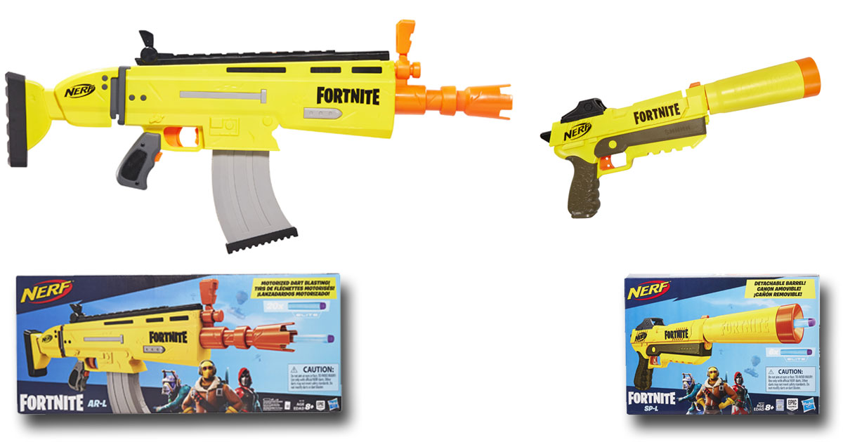 Ab April 2019 erhältlich: Nerf Fortnite AR-L (links) und Nerf Fortnite SP-L (rechts) - Fotos: Hasbro Inc.