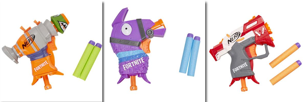 "Das ""Nerf Microshots Fortnite""-Sortiment besteht aus drei Miniatur-Modellen (Fotos: Hasbro Inc.)"