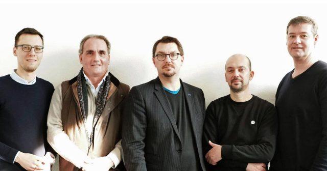 Der frisch gewählte Vorstand von Gamearea Hessen: Stefan Marcinek, Prof. Wilhelm Weber, Erik Staub, Jens Schäfer und Christian Hoppenstedt (Foto: Gamearea Hessen)