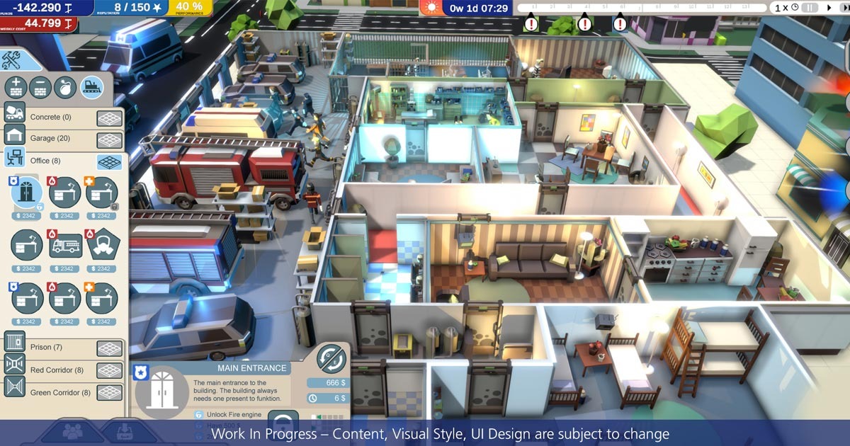 """Die PC-Neuheit """"Rescue HQ: The Tycoon"""" kombiniert Rettungsleitstelle, Polizei- und Feuerwehrstation (Abbildung: Aerosoft)"""