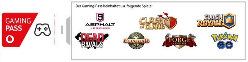 """Zum Start des Vodafone Gaming Pass sind populäre Apps wie """"Pokémon Go"""" oder """"Clash Royale"""" inklusive (Abbildung: Vodafone)"""