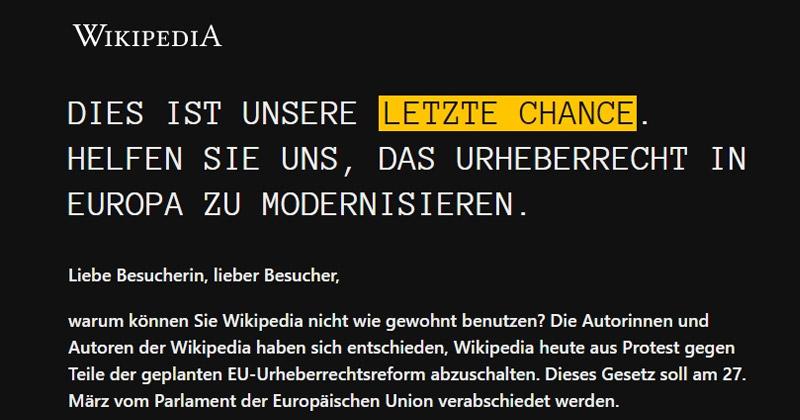 Schwarzer Donnerstag: Aus Solidarität mit den Artikel-13-Gegnern hat die deutschsprachige Wikipedia am 21. März alle Inhalte blockiert.