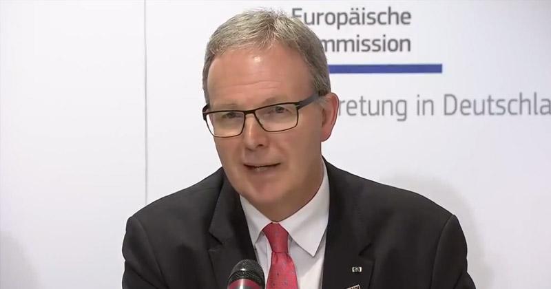 EU-Parlamentarier Axel Voss (CDU) - hier bei einer Pressekonferenz am 21.3. in Berlin - ist eine der treibenden Kräfte hinter der umstrittenen EU-Urheberrechtsreform.