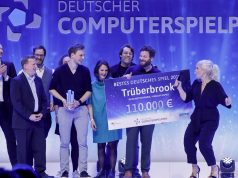 """Die Bildundtonfabrik und Headup Games gewinnen mit """"Trüberbrook"""" den Deutschen Computerspielpreis 2019 für das """"Beste Deutsche Spiel"""" (Foto: Isa Foltin / Getty Images for Quinke Networks)"""