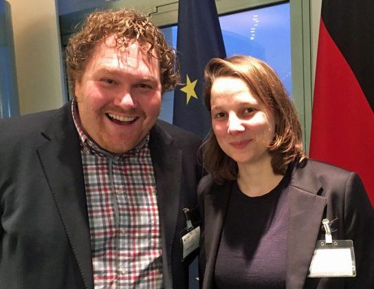DCP-Empfang im Kanzleramt: Karsten Lehmann (Ubisoft Blue Byte) und Linda Kruse (The Good Evil)