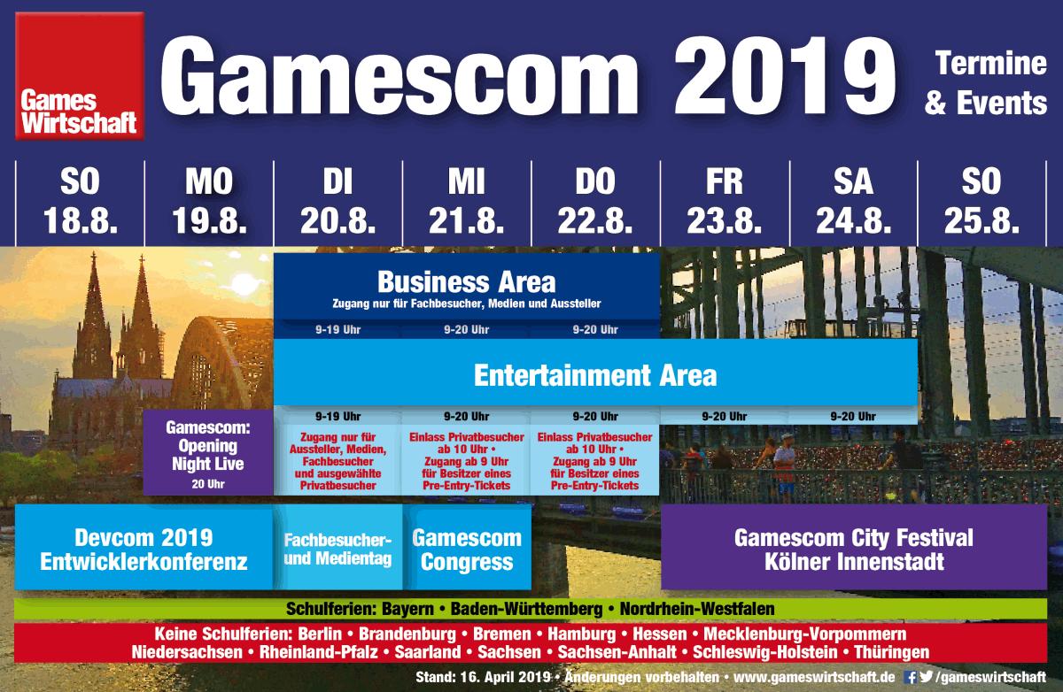 Gamescom 2019: Alle Öffnungszeiten und Termine im Überblick (Stand: 16. April 2019)