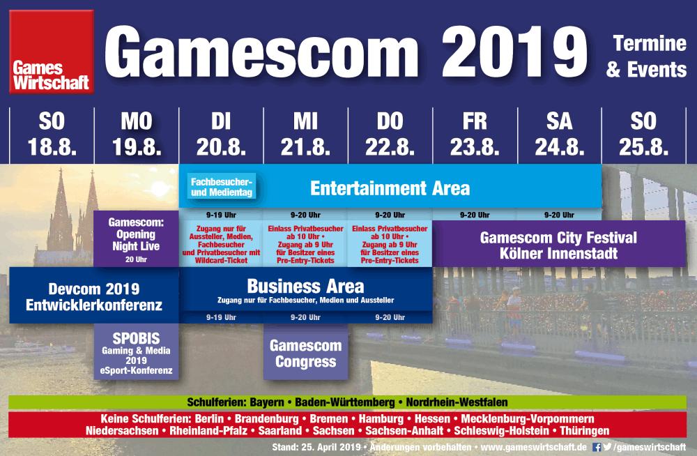 Öffnungszeiten, Termine, Events: Die Gamescom-Woche im Überblick - jetzt inklusive SPOBIS Gaming & Media 2019 (Stand: 25.4.2019)