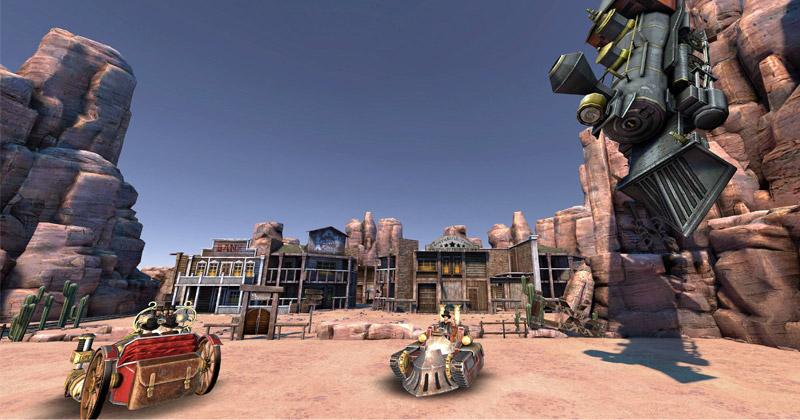 """Szene aus dem """"Steampunk VR Scooter"""": Die Arena wirkt durch technische Tricks viel größer als in der Realität (Abbildung: Schloss Thurn GmbH)"""