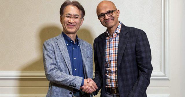 Historischer Handshake: Sony-Vorstands-Chef Kenichiro Yoshida und Microsoft-CEO Satya Nadella besiegeln die Allianz beider Tech-Riesen (Foto: Microsoft Corp.)