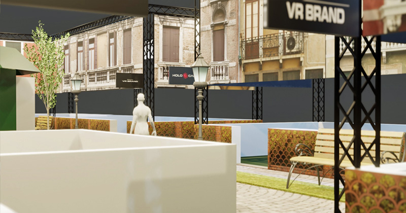 Die Computersimulation vermittelt einen Eindruck, wie der Gamescom-Besucher den XR Boulevard erlebt (Abbildung: Holocafé GmbH)