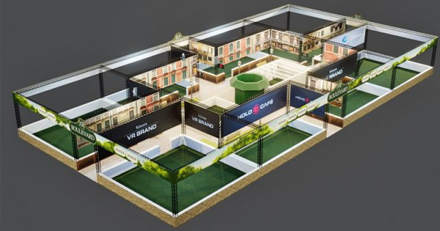 Die Vogelperspektive zeigt, wie der VR Boulevard auf der Gamescom 2019 strukturiert ist (Abbildung: Holocafé GmbH)