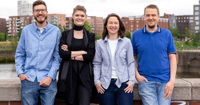 Das Team von Gamecity Hamburg: Projektleiter Dennis Schoubye, Annika Heilmann, Anna Jäger und René Leck (Foto: Oliver Reetz)