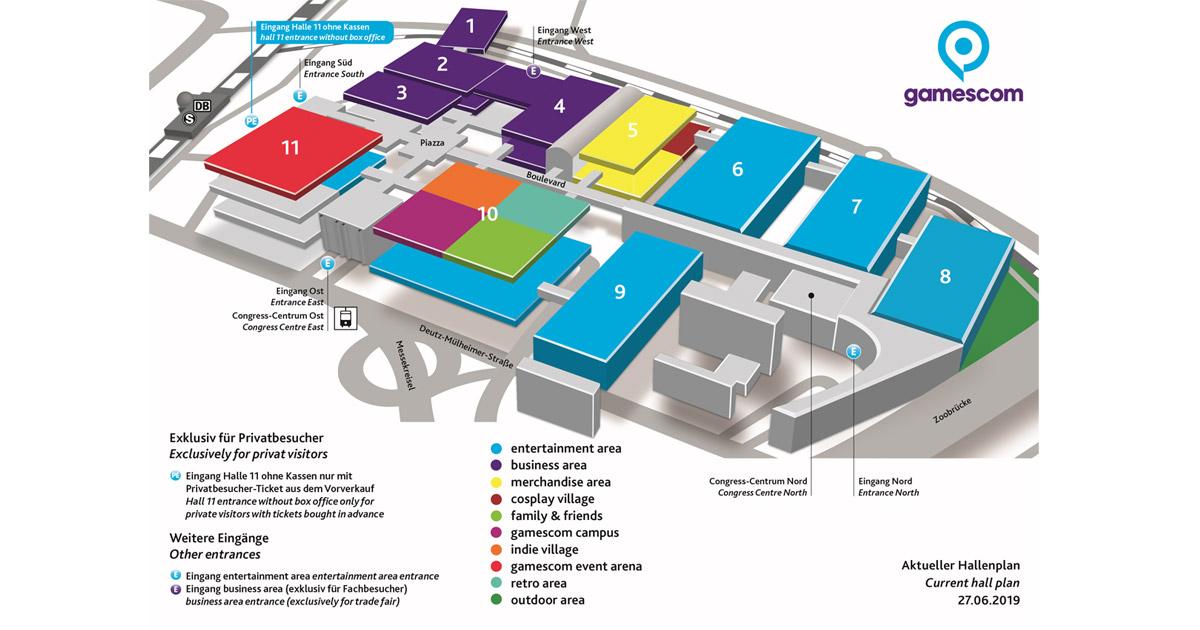 """Vorläufiger Gamescom 2019 Hallenplan: Die """"Event Area"""" belegt die 3. Etage der Halle 11 (Abbildung: KoelnMesse)"""