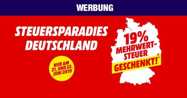 Steuersparadies Deutschland: Bei MediaMarkt schenkt seinen Kunden zwei Tage lang die Mehrwertsteuer (Abbildung: MediaMarkt)