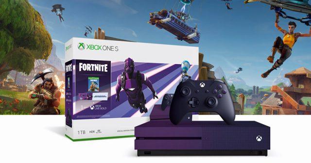 Das Xbox One S Fortnite Sondermodell glänzt mit Speziallackierung und vielen Extras (Abbildung: Microsoft)