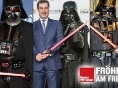 Die DCP-Gastgeber Scheuer (2019), Söder (2018) und Dobrindt (2017) posieren mit Star-Wars-Personal (Fotos: Isa Foltin / Franziska Krug / Getty Images for Quinke Networks)