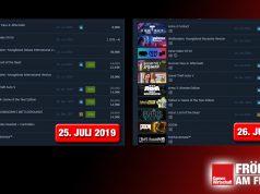 """Links die Steam-Top-Seller am 25. Juli - rechts die gleichen Top 10, nur 24 Stunden später: Die internationale Version von """"Wolfenstein: Youngblood"""" wird nicht mehr eingeblendet."""
