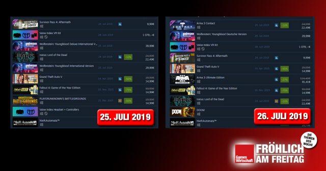 Links die Steam-Top-Seller am 25. Juli - rechts die gleichen Top 10, nur 24 Stunden später: Die internationale Version von