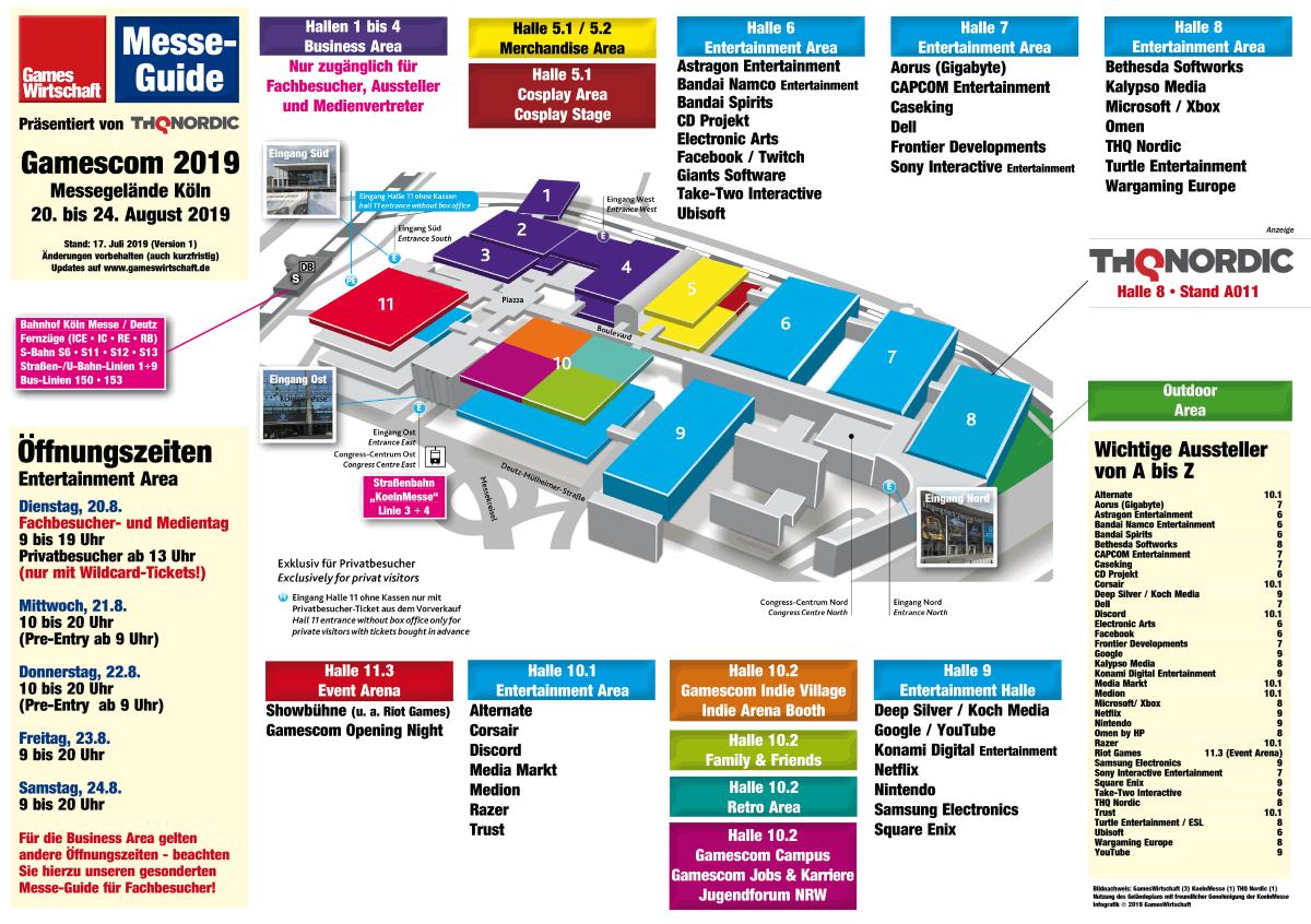 Vorläufiger Gamescom Hallenplan 2019 (Stand: 17.7.2019 - Änderungen vorbehalten)