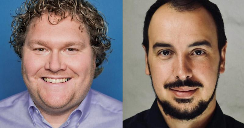 Bauen die Zusammenarbeit mit Blick auf die Indie Arena Booth 2019 aus: Karsten Lehmann (Ubisoft) und Wolf Lang (Supercrowd Entertainment)