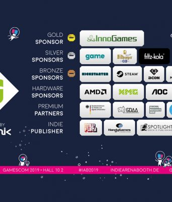 Sponsoren und Partner der Indie Arena Booth 2019 auf der Gamescom 2019 (Abbildung: Super Crowd Entertainment)