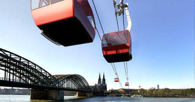 So stellen sich die Planer den künftigen Verlauf der Kölner Messe-Seilbahn vor (Abbildung: Pixel Enlargement 2012 für Strabag Real Estate)