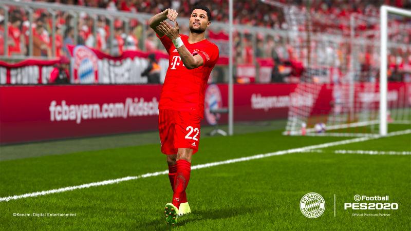 """Serge Gnabry rührt um: Auch der Torjubel des Bayern-Stars ist in """"PES 2020"""" detailgetreu umgesetzt (Abbildung: Konami)"""