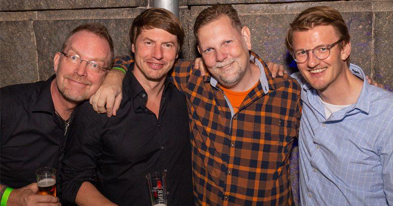 Gäste auf der Yager-Party: Stephan Reichart (Head of Devcom), Timo Ullmann (Yager), Ingo Horn (Wargaming) und Indie-Spezialist André Bernhardt