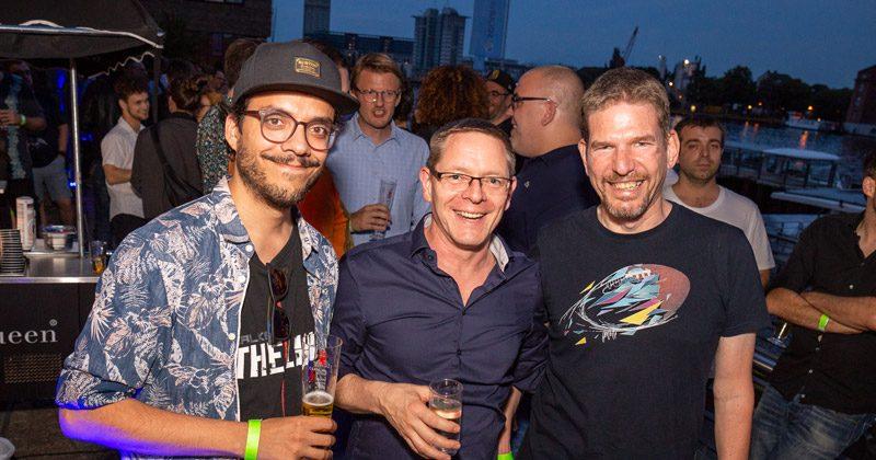 Gäste der Yager-Party: Riad Djemili (MaschinenMensch), André Blechschmidt (Yager) und Philipp Schellbach (Yager)