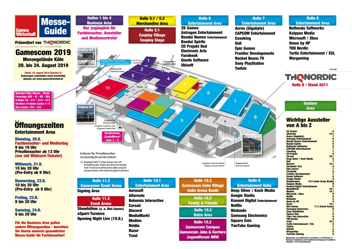 Gamescom 2019 Hallenplan: Aussteller und Hallen im Überblick (Stand: 17.8.2019)