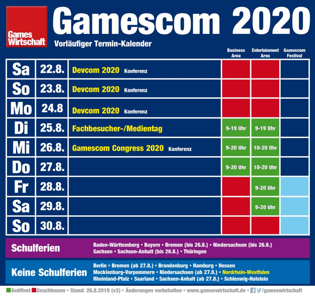 Gamescom 2020 Termin: Die Messe startet am 25. August 2020 und endet am 29. August 2020 (Änderungen vorbehalten, Stand: 26.8.19)