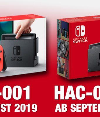 Das neue Nintendo Switch Modell 2019 ist unter anderem an der neuen Verpackung erkennbar.