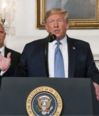 US-Präsident Donald Trump am 5. August bei seiner Ansprache anlässlich der Amokläufe in El Paso und Dayton (Foto: The White House / Joyce N. Boghosian)