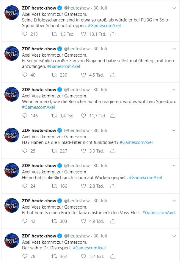 Beinahe im Minutentakt feuerte die ZDF Heute-Show einen GamescomAxel-Tweet nach dem anderen ab.