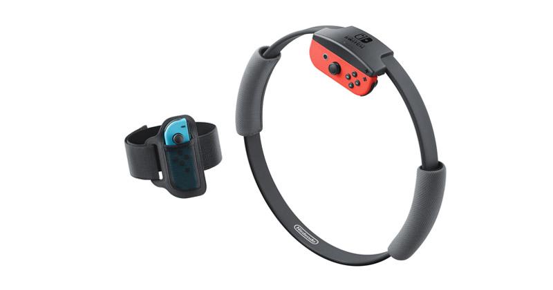 """Im Lieferumfang von """"Ring Fit Adventure"""" für Nintendo Switch sind der Beingurt sowie der Ring-Con, nicht aber die Joy-Con-Controller enthalten (Foto: Nintendo of Europe)"""