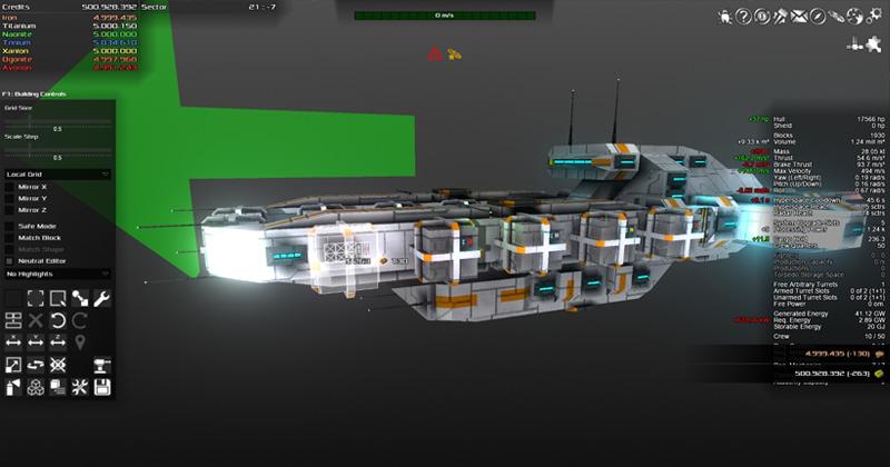 """Steam-Hit """"Avorion"""": Aus unterschiedlichen Komponenten und Materialien baut der Spieler sein persönliches Raumschiff (Abbildung: Boxelware)"""